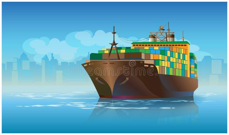 Grande navio de carga ilustração do vetor