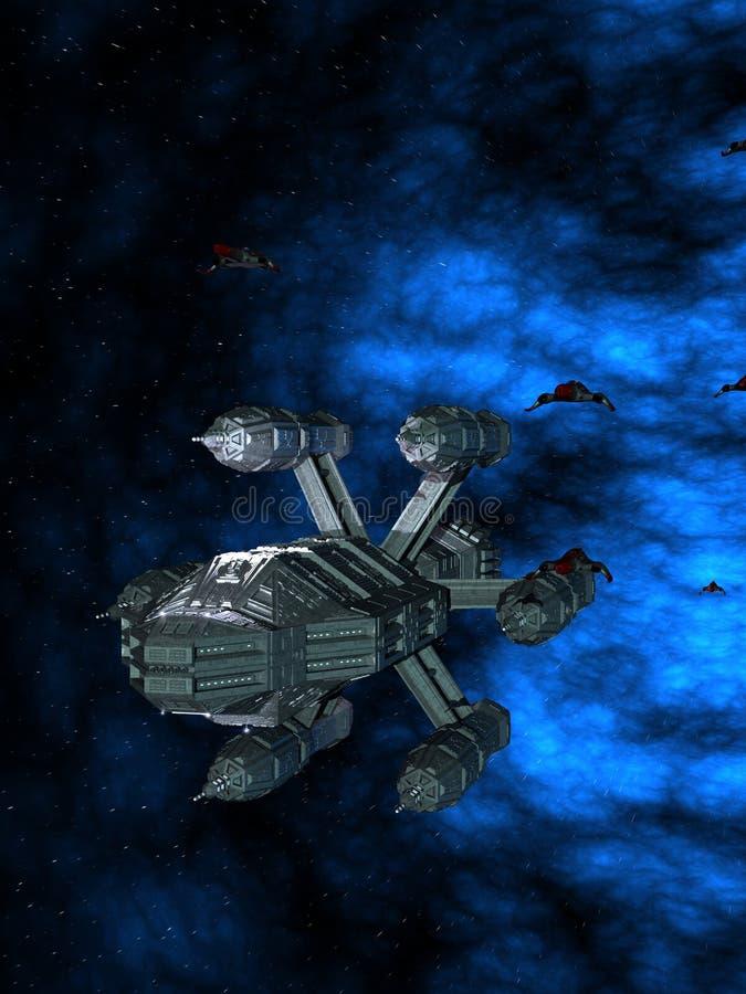 Grande navio de guerra do espaço com lutadores 3D-Rendering fotos de stock
