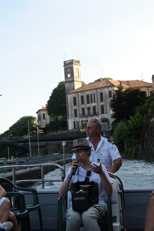 Grande nawigacja wzdłuż Naviglio Lombardy, Włochy - fotografia royalty free