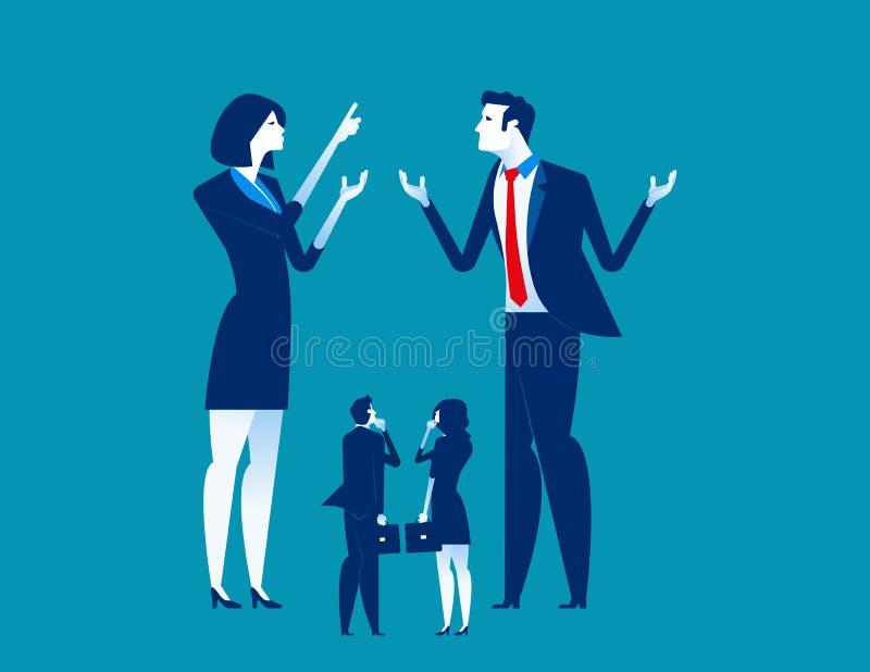 Grande negócio que explica à empresa de pequeno porte Ilustração do vetor do negócio do conceito ilustração stock