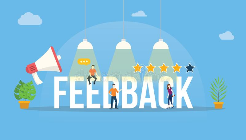 Grande notation client de mot de retour avec le bureau d'équipe de personnes et l'étoile de taux illustration libre de droits