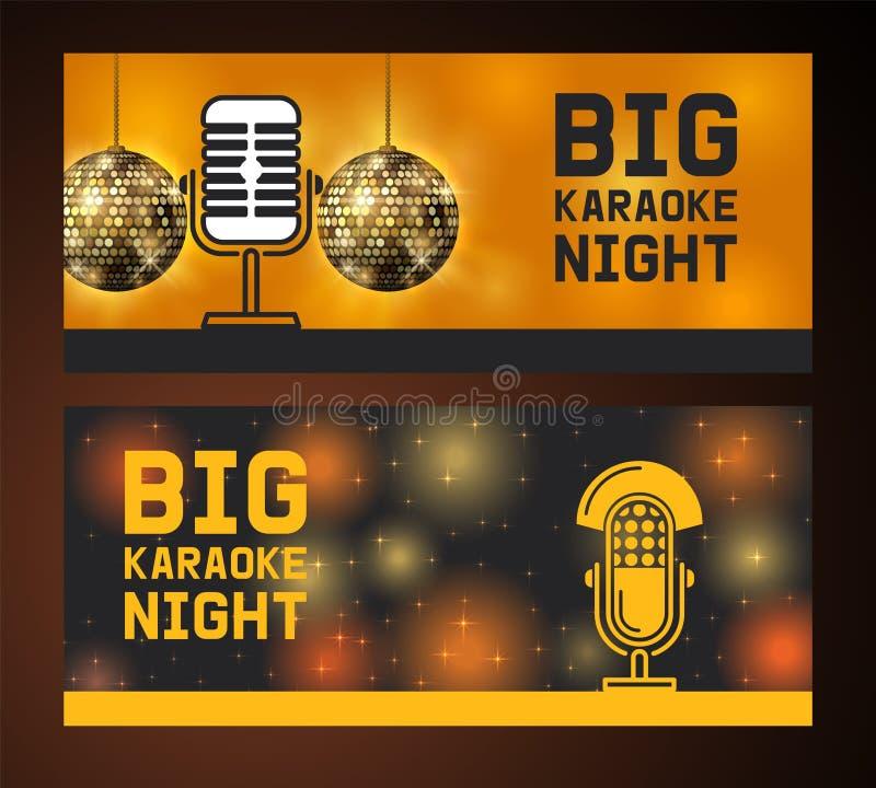 Grande notte di karaoke Insieme del microfono dell'illustrazione di vettore delle insegne Concerto di musica in diretta Opuscoli  illustrazione di stock