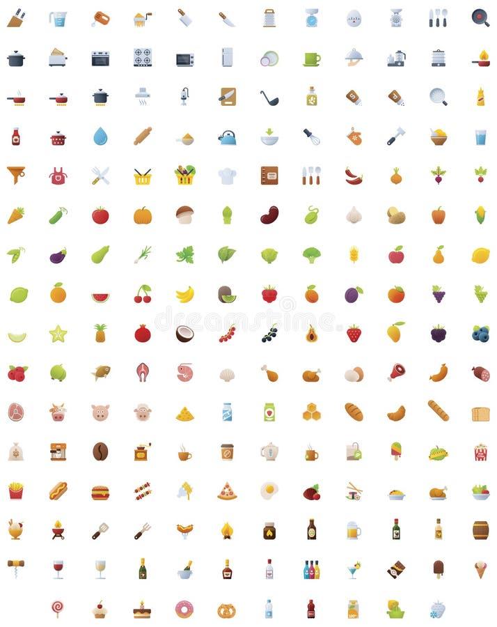 Grande nourriture, boissons et cuisson de l'ensemble d'icône illustration stock