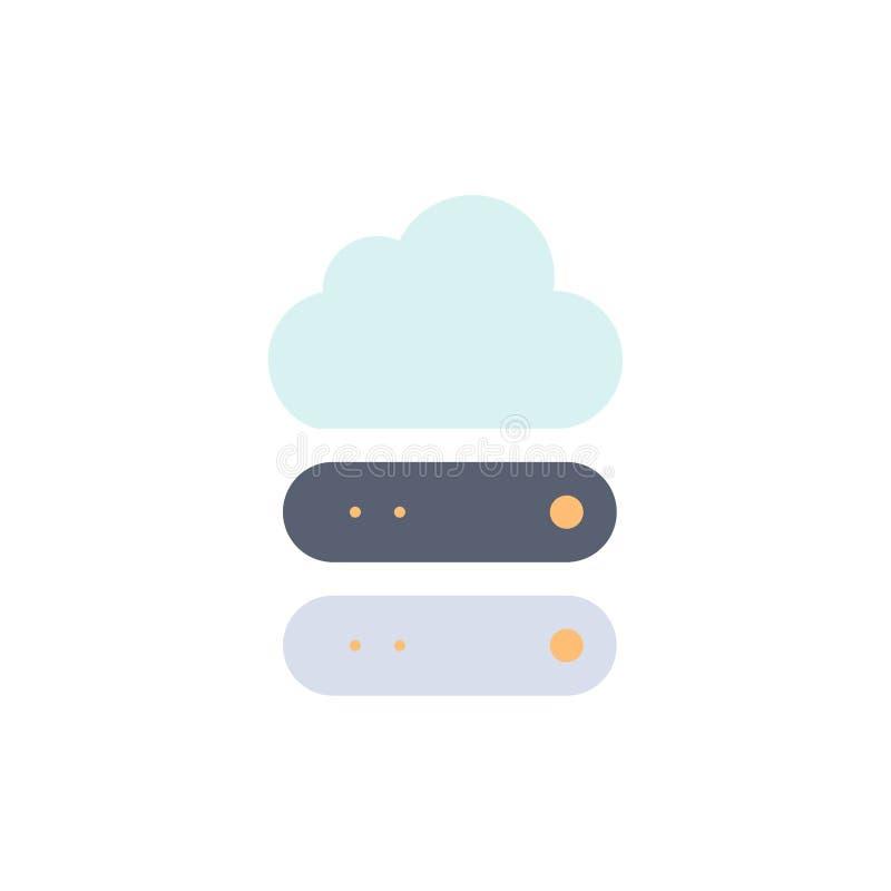 Grande, nube, datos, icono plano del color del almacenamiento Plantilla de la bandera del icono del vector stock de ilustración