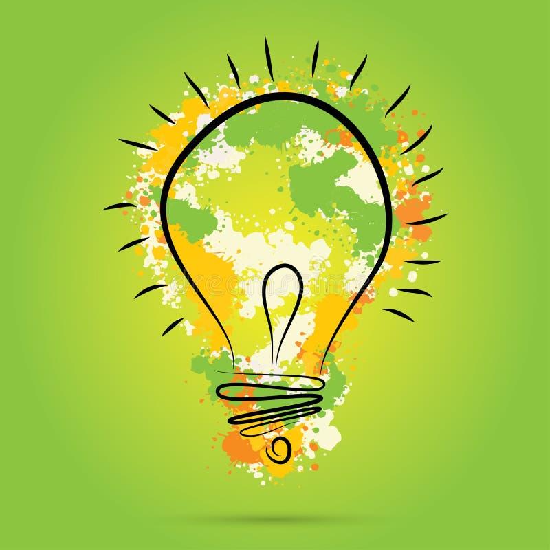 Grande nuovo concetto di idea - lampadina con gli elementi dell'acquerello di vettore di tiraggio della mano illustrazione vettoriale