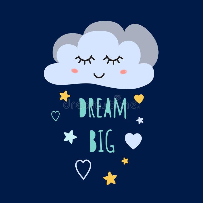 Grande nuvola sveglia di sogno del fumetto di sonno Grande manifesto di progettazione di stile del bambino dei cuori del bambino  illustrazione di stock