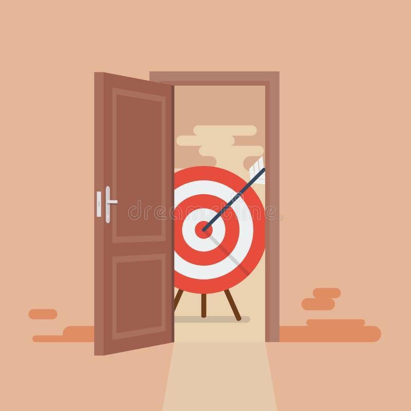 Grande obiettivo dietro la porta aperta illustrazione vettoriale