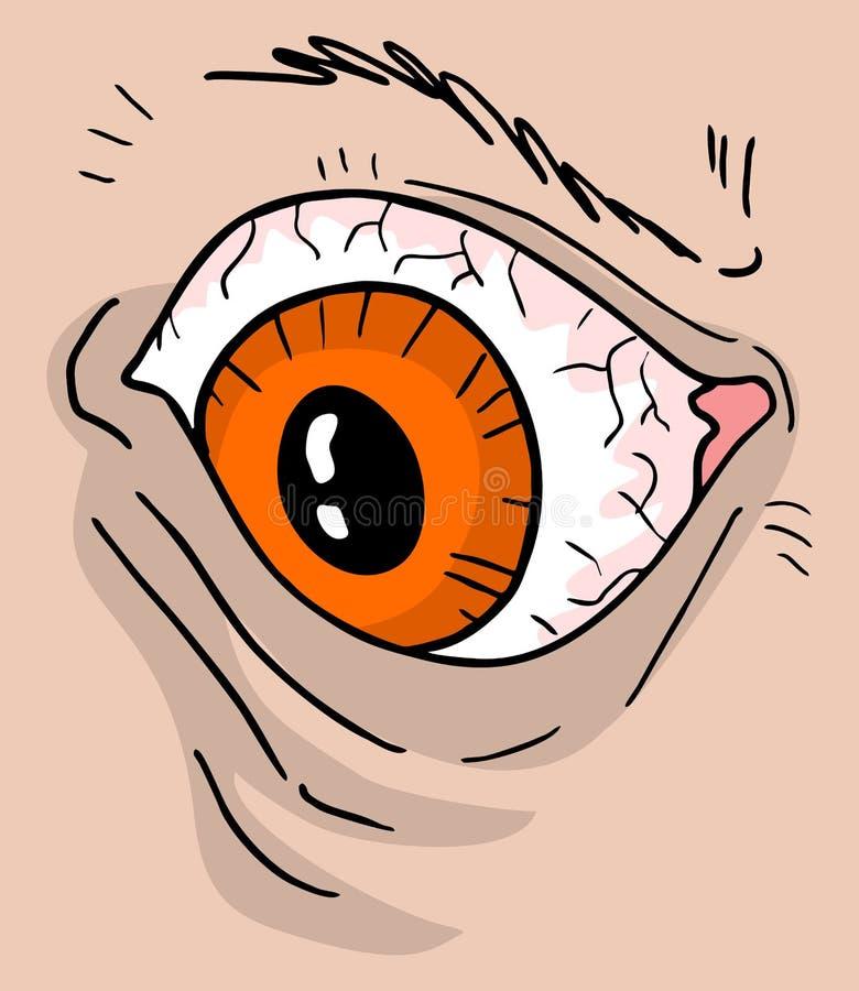 Grande occhio arrabbiato illustrazione di stock