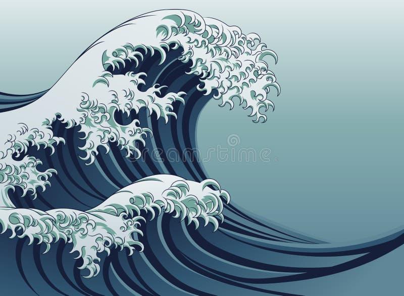Grande onda ilustração royalty free