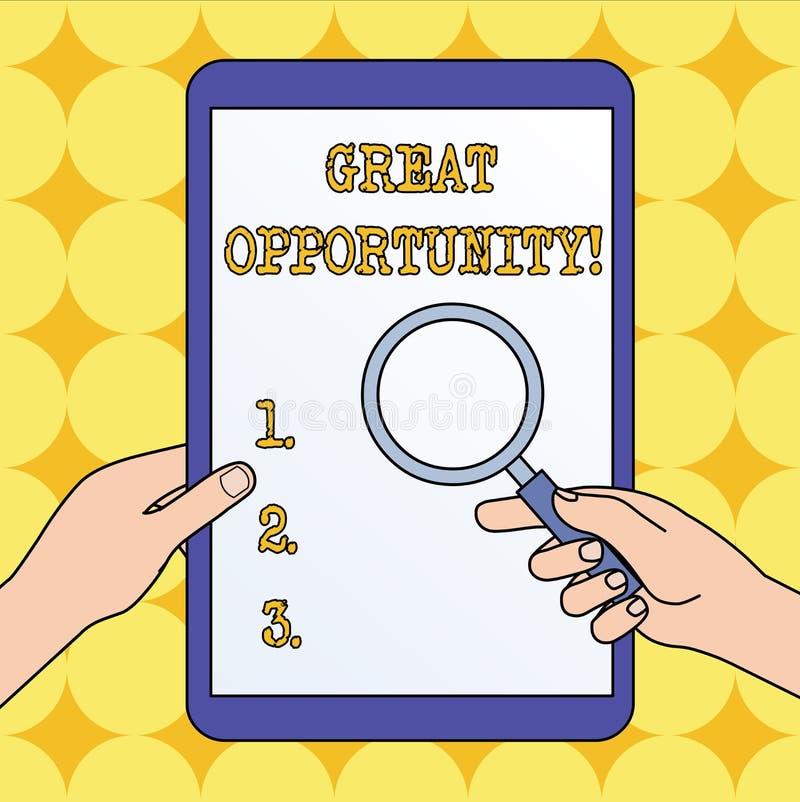 Grande opportunité d'apparence de signe des textes Photo conceptuelle un temps ou une occasion approprié ou favorable pour oser d illustration de vecteur