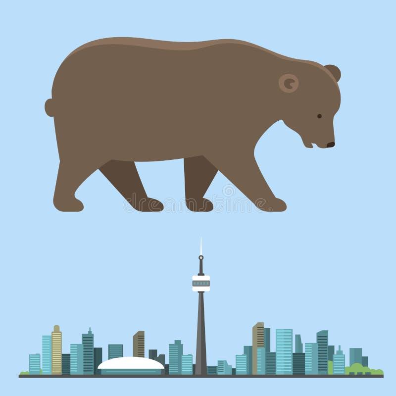 Grande orso bruno isolato su fondo bianco illustrazione vettoriale