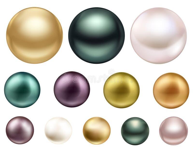 A grande pérola colorida da joia com mar do brilho peroliza Preto grande, branco e pérolas do ouro ilustração royalty free
