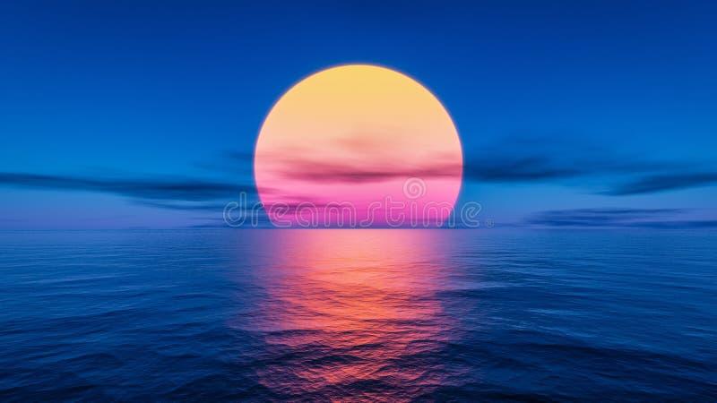 grande pôr do sol sobre o oceano ilustração royalty free