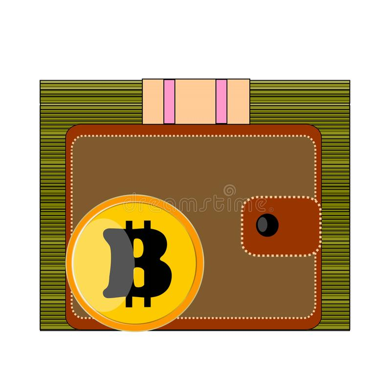 Grande pacchetto dei dollari di verde dei contanti, borsa marrone, giallo, oro, moneta Bitcoin su fondo bianco fotografia stock