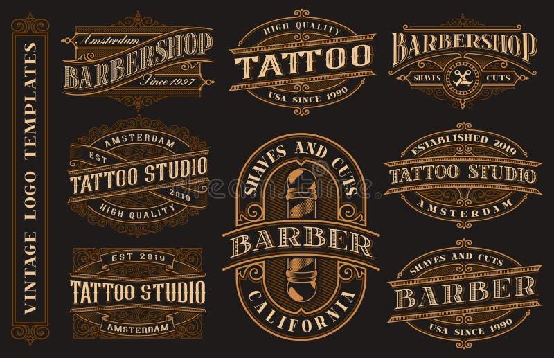 Grande pacco dei modelli d'annata di logo per lo studio ed il parrucchiere del tatuaggio illustrazione vettoriale