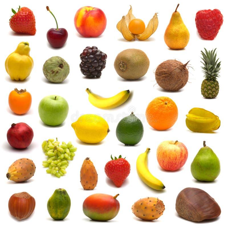 Grande pagina della frutta e delle noci fotografia stock