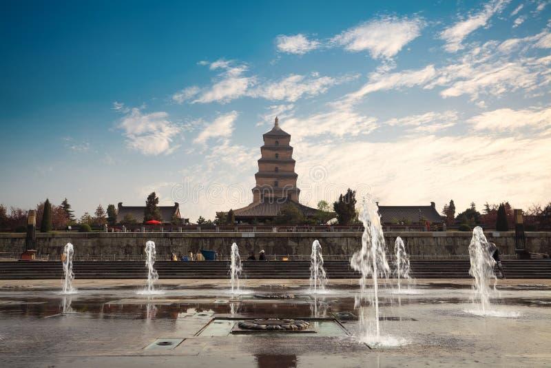 Grande pagoda selvaggia dell'oca con la fontana immagine stock libera da diritti
