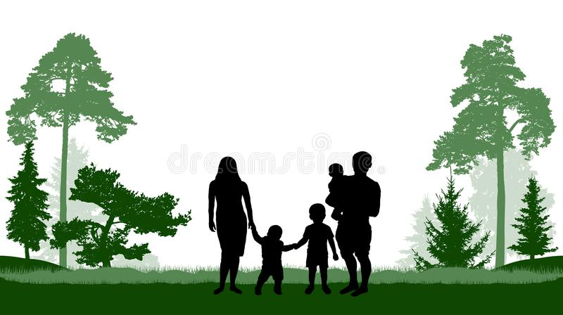 Grande pai de família, mulher e três caminhadas das crianças no parque ilustração stock