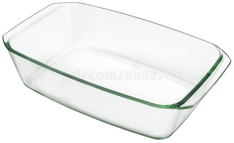 Grande Pan Isolated On White Background bollente di vetro oblungo fotografia stock