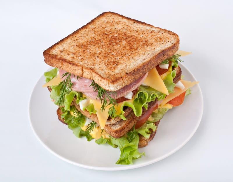 Grande panino con carne e Veg fotografia stock