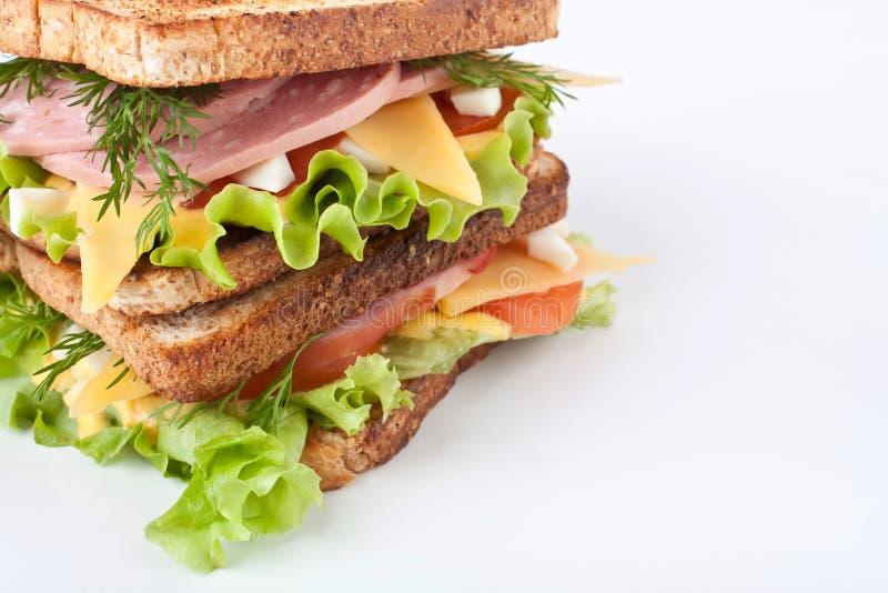 Grande panino con carne e Veg immagine stock libera da diritti