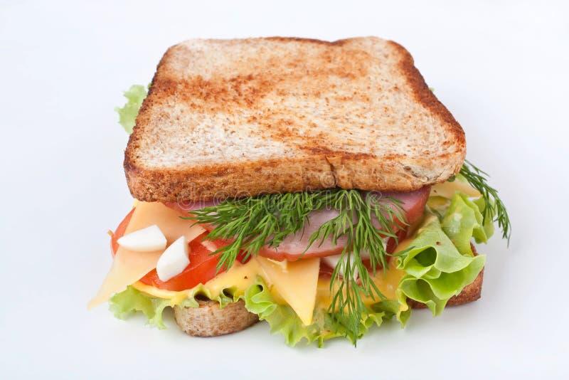 Grande panino con carne e Veg fotografie stock libere da diritti