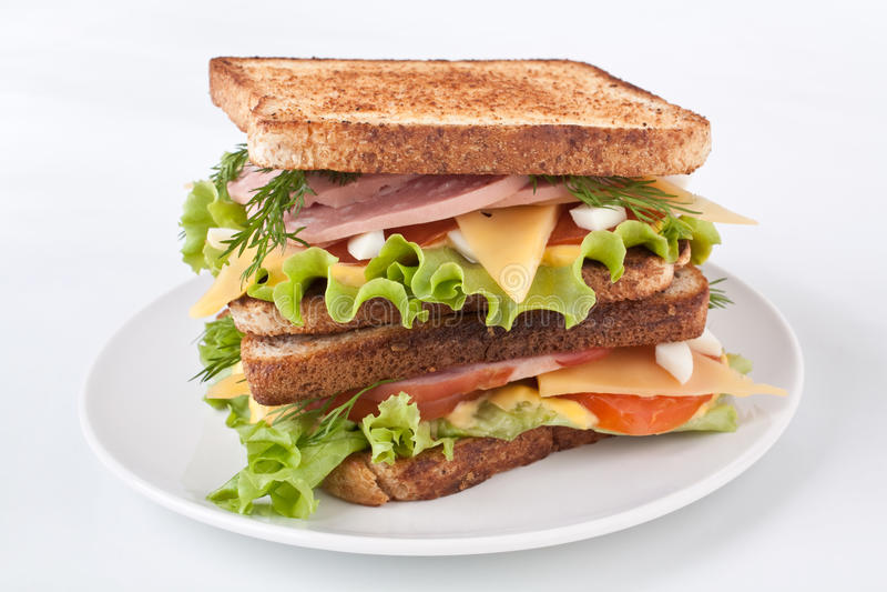 Grande panino con carne e Veg fotografie stock