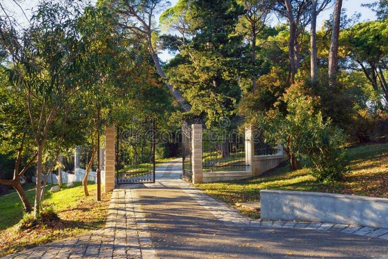 Grande parco della città della città di Teodo, Montenegro immagine stock