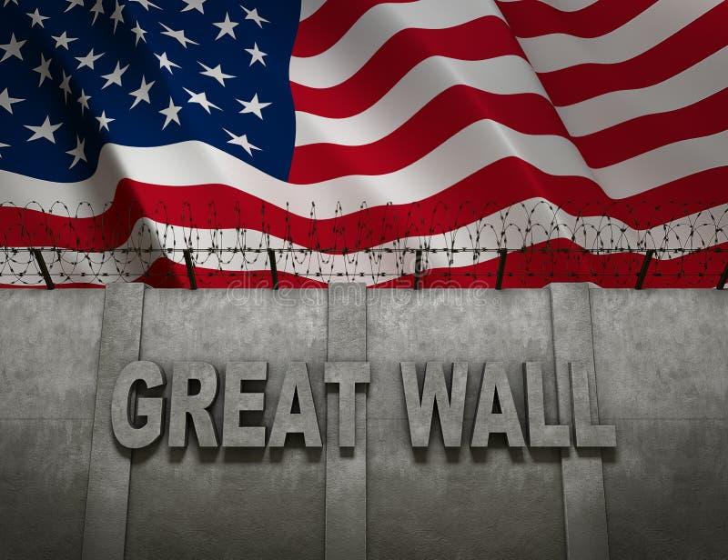 Grande parete del confine fra l'America ed il Messico con la bandiera della rappresentazione degli Stati Uniti d'America 3D fotografia stock libera da diritti