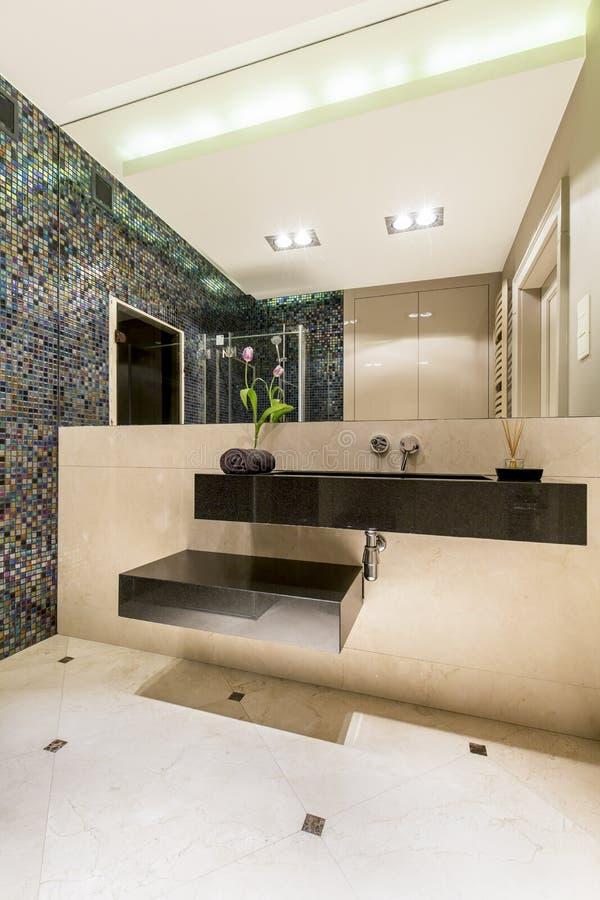 Grande partie d'avant-garde en décor de la salle de bains moderne image libre de droits