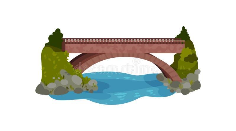 Grande passerelle au-dessus de fleuve Buissons et herbe verte, pierres et eau Élément de paysage Conception plate de vecteur pour illustration libre de droits