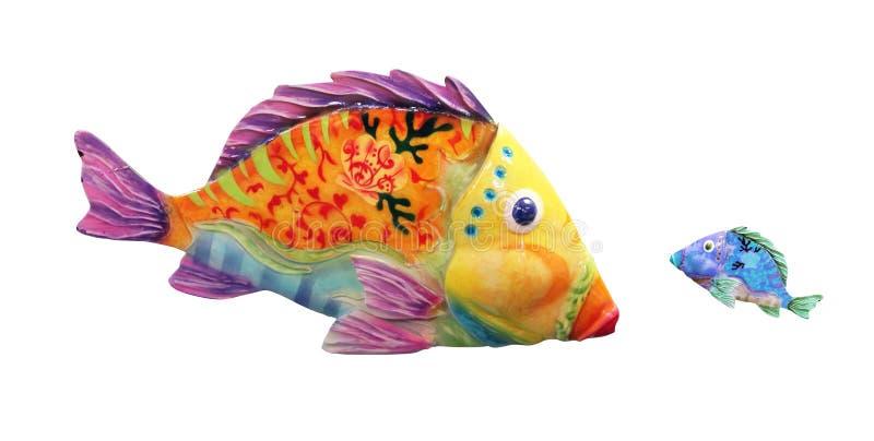 Grande pesce contro poco pesce illustrazione vettoriale