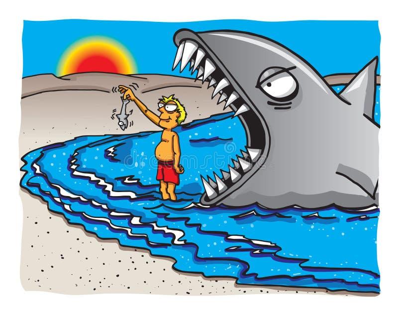 Grande pesce poco pesce illustrazione vettoriale