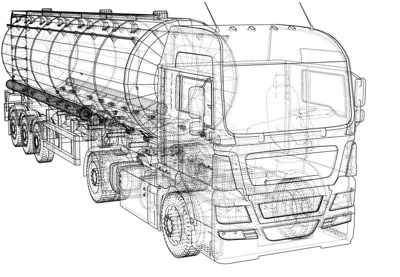 Grande petroleiro do caminhão com reboque Isolado no fundo cinzento Ilustração criada de 3d ilustração royalty free