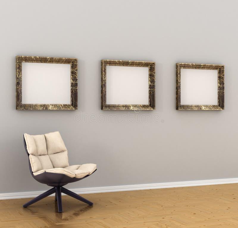 Grande photo, cadres, accrochant sur un mur gris illustration stock