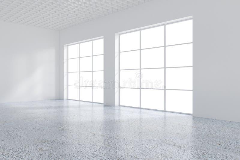 Grande pièce avec les fenêtres et la lumière en baisse de la fenêtre au plancher rendu 3d illustration libre de droits