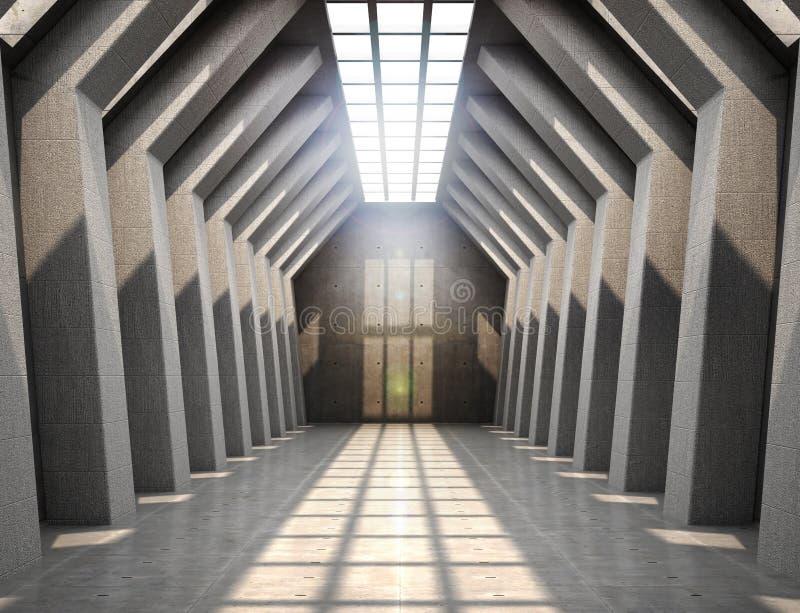 Grande pièce avec les murs en béton en haut de la fenêtre laissant la lumière dans la salle illustration de vecteur