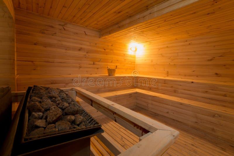 Grande pièce de sauna image stock