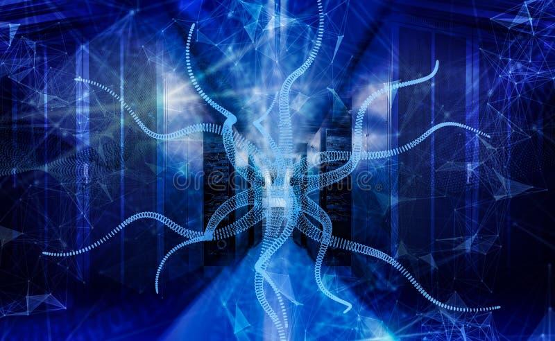 Grande pièce de serveur de centre de traitement des données sous l'attaque du rendu du virus informatique 3d illustration de vecteur