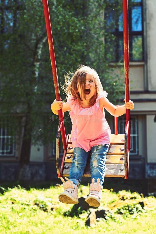 Grande piacere Bambina romantica sull'oscillazione, sogni dolci Ragazza di risata felice del bambino su oscillazione Piccolo gioc immagine stock
