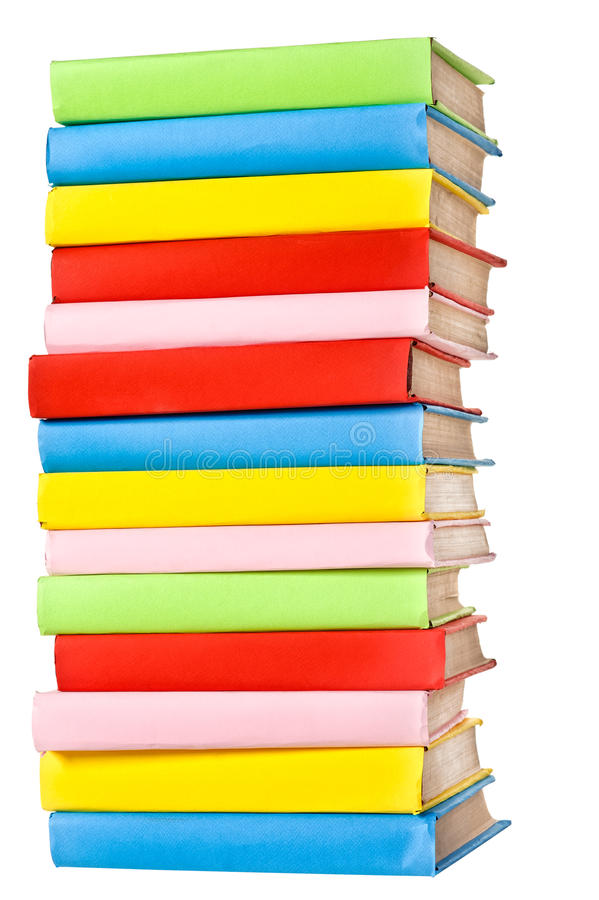 Grande pila di libri in baia dura immagini stock libere da diritti