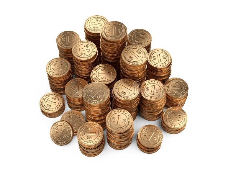 Grande pile de pièces d'or - vue supérieure Concept de récompense d'argent illustration libre de droits