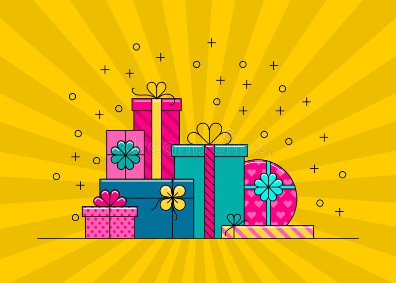 Grande pile des boîte-cadeau enveloppés colorés illustration libre de droits