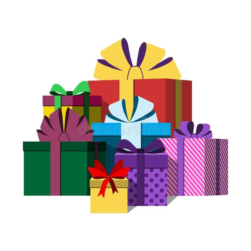 Grande pile des boîte-cadeau enveloppés colorés illustration de vecteur