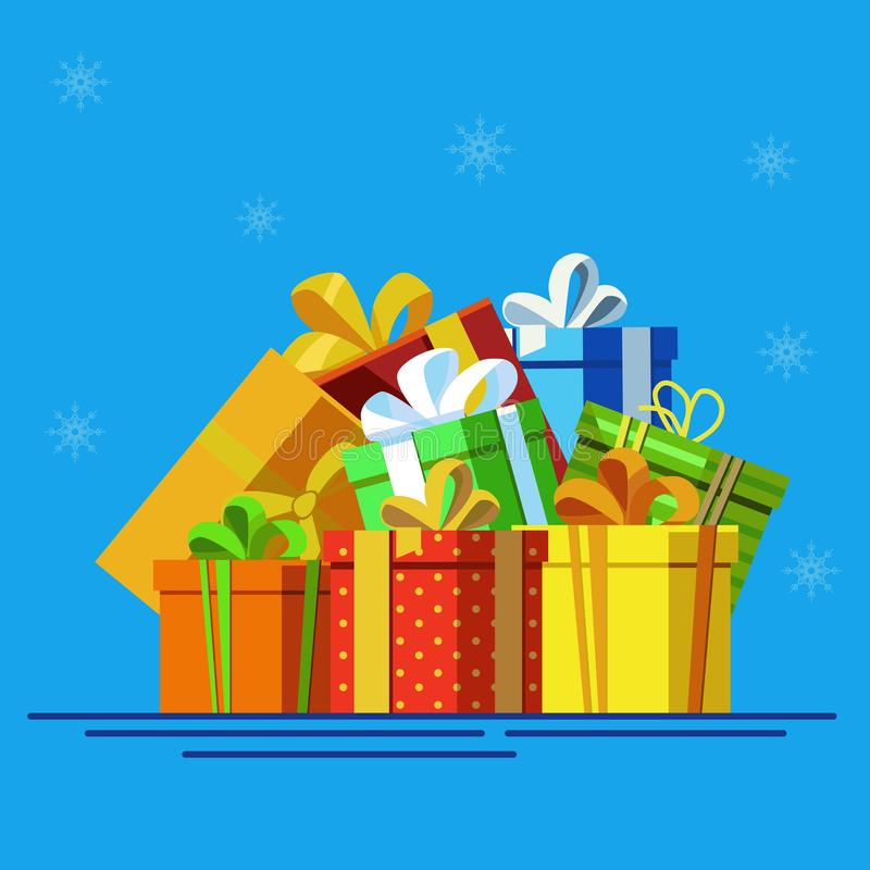 Grande pile des boîte-cadeau enveloppés colorés Un bon nombre de présents illustration stock