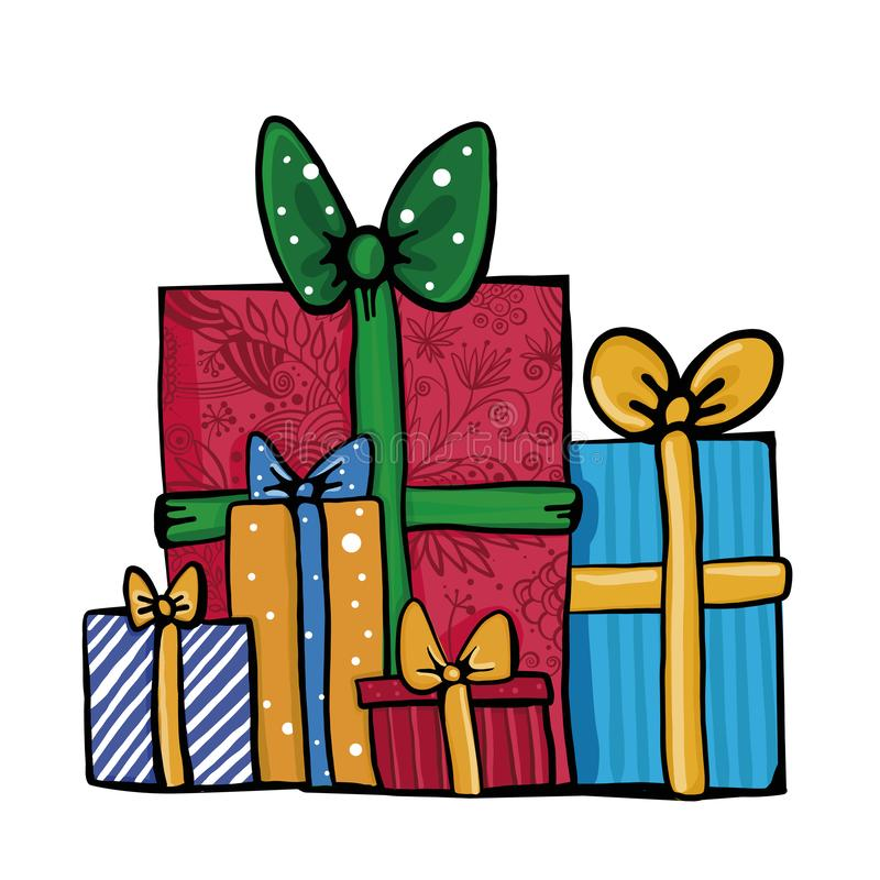 Grande pile des boîte-cadeau enveloppés colorés Un bon nombre de présents illustration de vecteur