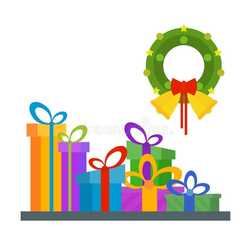 Grande pile des boîte-cadeau enveloppés colorés, un bon nombre de présents Vert illustration de vecteur