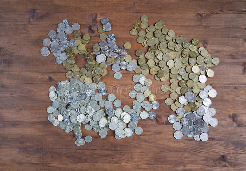 Grande pile des pièces de monnaie photo libre de droits