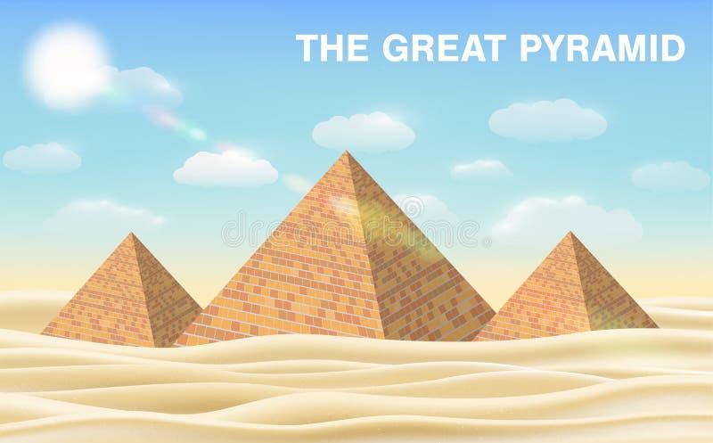 Grande piramide di Giza in deserto royalty illustrazione gratis