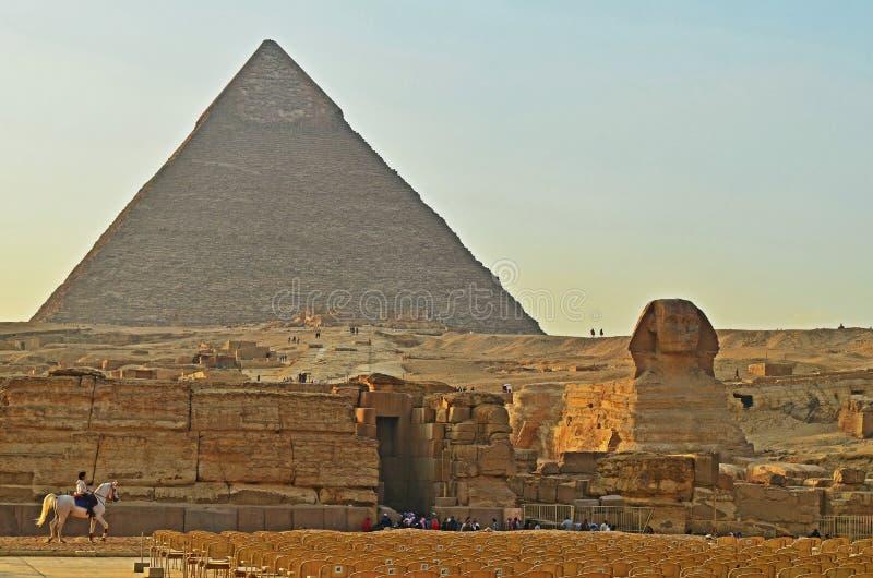 Grande piramide di Giza e della Sfinge fotografie stock libere da diritti